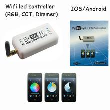 1 шт. dc12v 24 В 12A wifi 2.4 ГГц rgb / цветовая температура / затемнения мини умный дом из светодиодов диммер контроллер управления по андроид / IOS