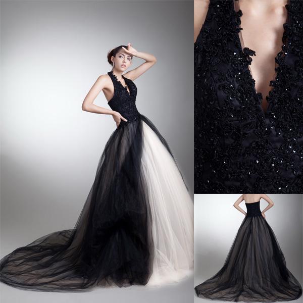 Black halter wedding dresses : White ivory black tulle lace halter top wedding dress g