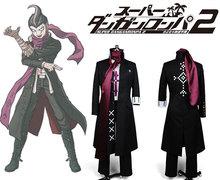 Super Danganronpa 2 Gundam Tanaka uniforme Top Coat masculino camisa cachecol Anime Halloween jogo Cosplay Costumes para os homens feitos sob encomenda