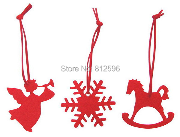 60pcs Mixed Red 2015 Fashion New Laser Cut Felt CraftSnowflake Angel Horse Christmas Hanging Decoration Outdoor Tree Ornament(China (Mainland))