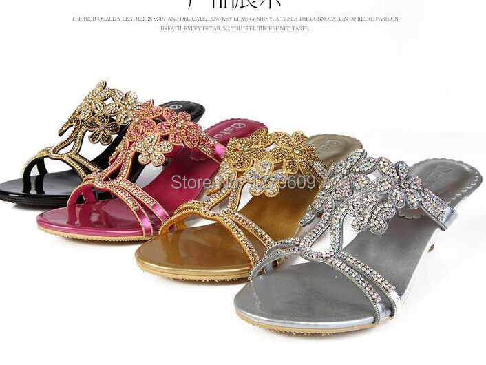 Фотография 2016 Rhinestone sandals 4 styles open toe crystal high-heeled shoes plus size genuine leather women