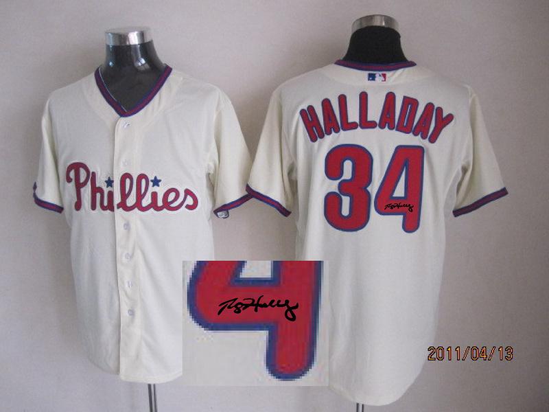 Wholesale Mens Philadelphia Phillies Jersey Signature Edition #34 Roy Halladay Beige Cool Base Baseball Jersey Mix Orders