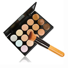 ONLY Hot 15 Colors Contour Face Cream Makeup Concealer Palette Powder Brush Free Shipping