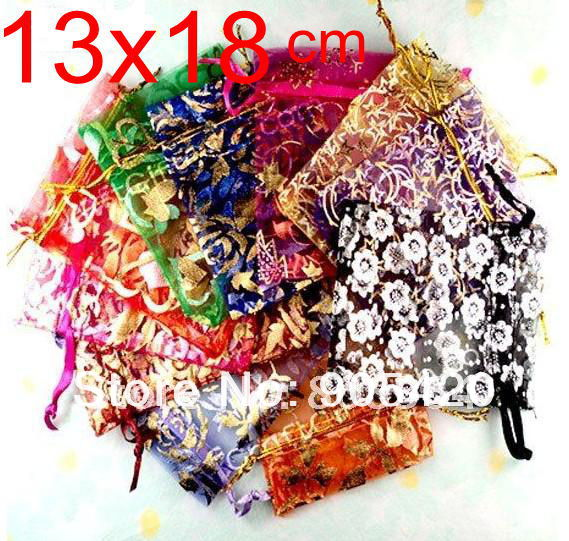 OMH wholesale 50pcs 13x18cm 10color mix chinese Christmas Wedding voile gift bag Organza Bags Jewlery packing Gift Pouches BZ08(China (Mainland))