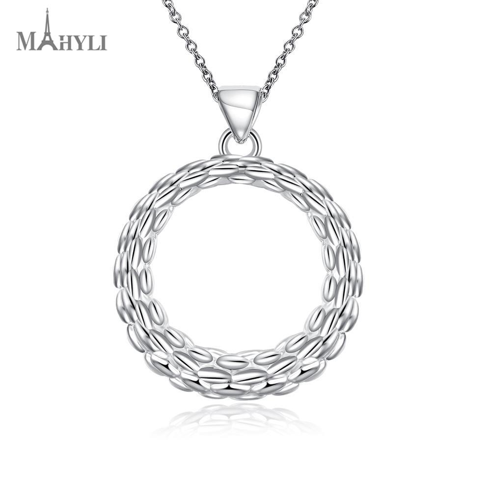 MAHYLI pure 925 silver circle Pendant white silver choker Necklace For women Men Women Stainless Steel wedding Jewelry(China (Mainland))