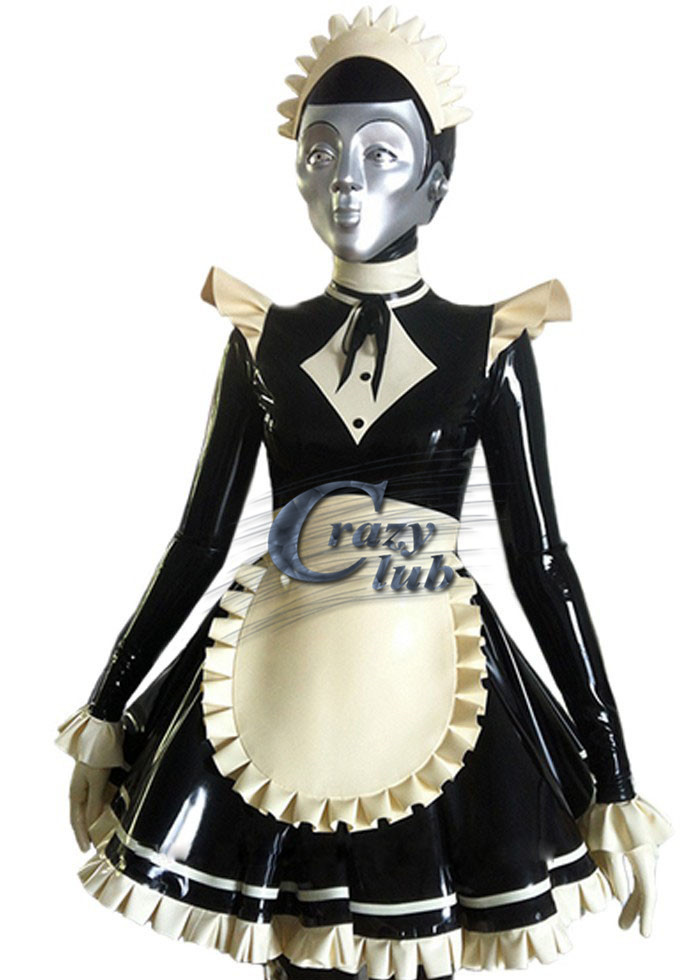 Sex Women Latex Costume maid Skirt Exotic Apparel with hat 100% pure natural latex handmade black and white costume rubber dress