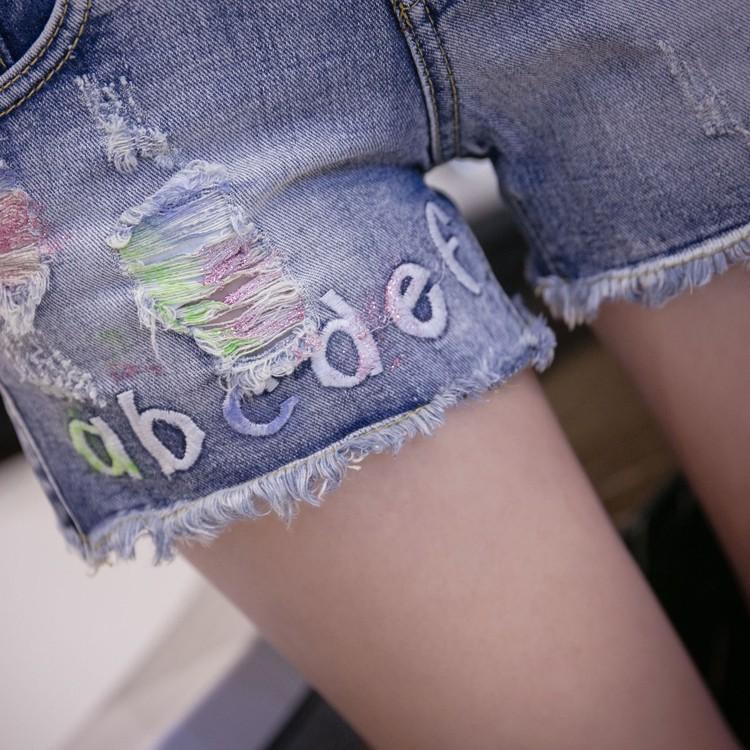 Europe station new denim shorts female denim shorts color Slim hole jeans letter personality wild
