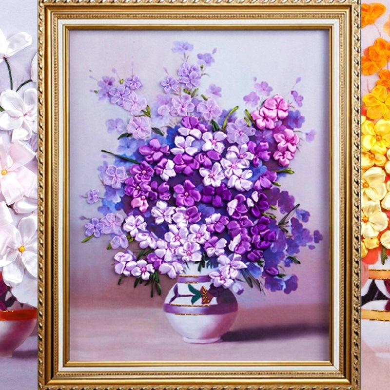 Фиолетовые цветы натюрморт из лент вышивка трехмерная Живопись Сделай сам Рукоделие наборы для домашнего украшения подарок