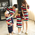 Family Matching Outfits Father Son Shortsleeve Tshirt Pants Sets and Mother Daughter Striped Dress Summer Family