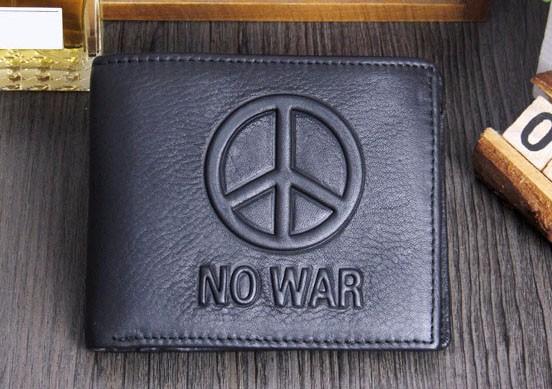 Кожаный кошелек пацифиста NO WAR