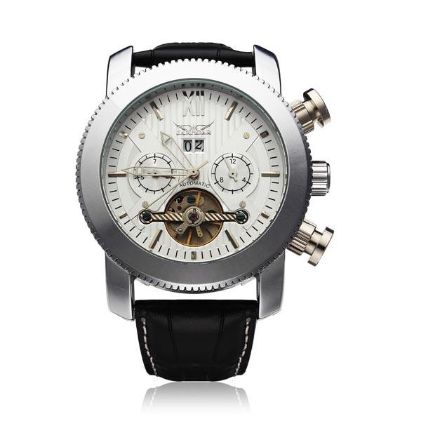 Jaragar бренд класса люкс автоматическая механическая мода кожа календарь маховик мужские наручные часы мужские часы 2016 New бесплатная доставка