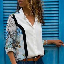 Las mujeres Blusas 2018 de moda de manga larga cuello camisa de oficina de Blusa de gasa camisa Casual Tops Blusas Femininas(China)