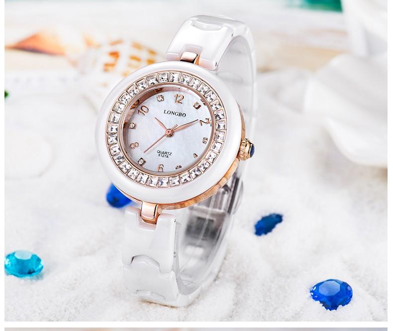 LONGBO Luxury Brand Женщины Смотреть Мода Повседневная Керамическая Кварцевые Часы Аналоговые Дамы Платье Часы Relogion Feminino Наручные Часы 6127