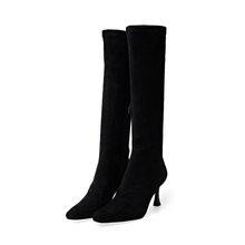 ISNOM Diz Yüksek Çizmeler Kadın Seksi Yılan Derisi Çizmeler Kare Ayak Ayakkabı Kadın Parti Yüksek Topuklu Ayakkabılar Bayanlar Kış 2019 artı Boyutu 43(China)