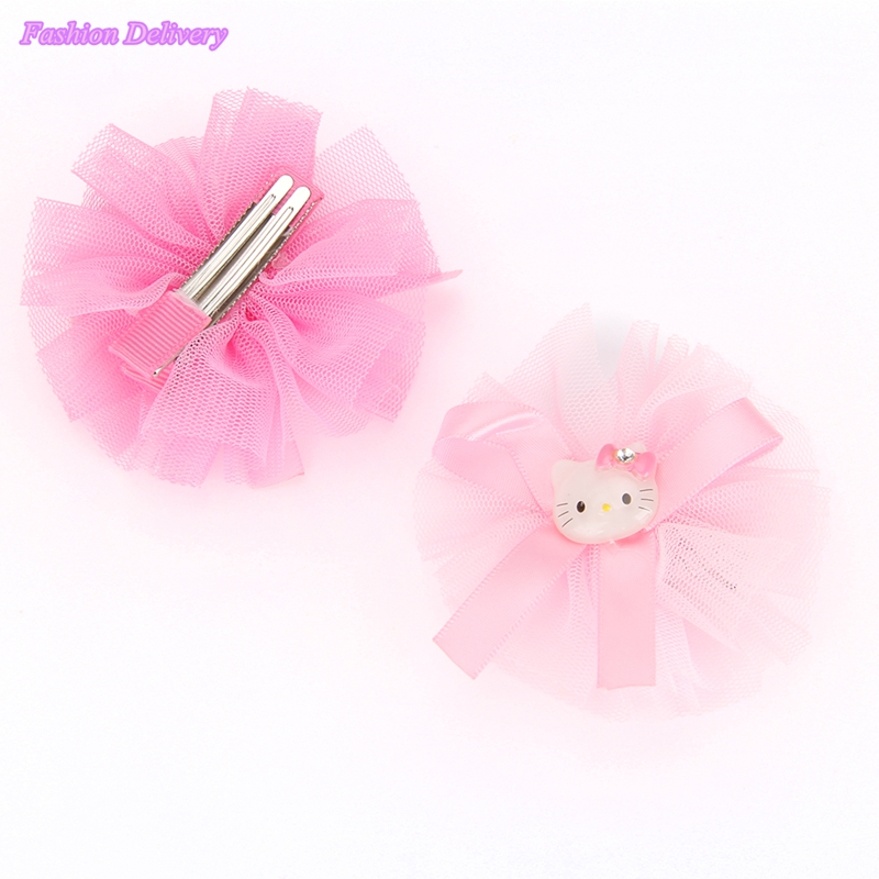 2pcs/lot Cute Cartoon Hello Kitty Hair Clips For Children Gauze Lace Bowknot Ribbons Hairpins KIds Hair Styling Accessories(China (Mainland))
