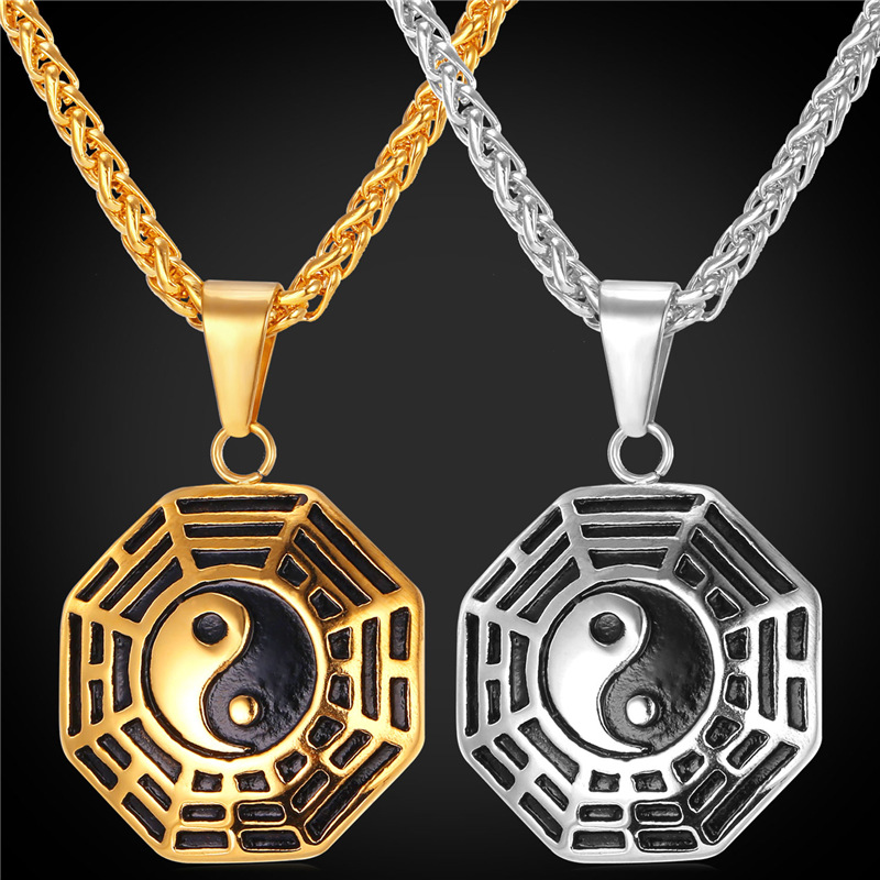 Chinese Taoism Sign Ancient Eight Diagrams Pendant Necklace Charms Jewelry Stainless Steel/18K Real Gold Plated Chain GP1895(China (Mainland))