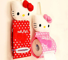Kawaii 2Colors - Plush Stuffed TOY DOLL Pendant Hello KITTY Home & Bathroom Tissue Case Box Container ; Napkin BAG Holder BOX(China (Mainland))