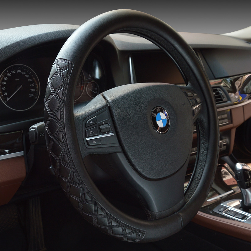 Microfiber leather steering wheel cover to cover high-grade diamond pattern embossed skid Grips(China (Mainland))