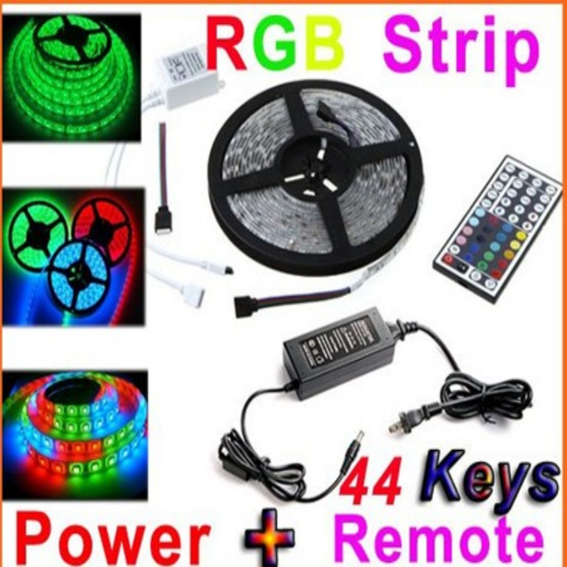 Free Shipping led lighting 5M 500CM Waterproof IP65 RGB 5050 LED 300 SMD 60leds/Meter Strip+44 key IR Remote 5A Power Supply