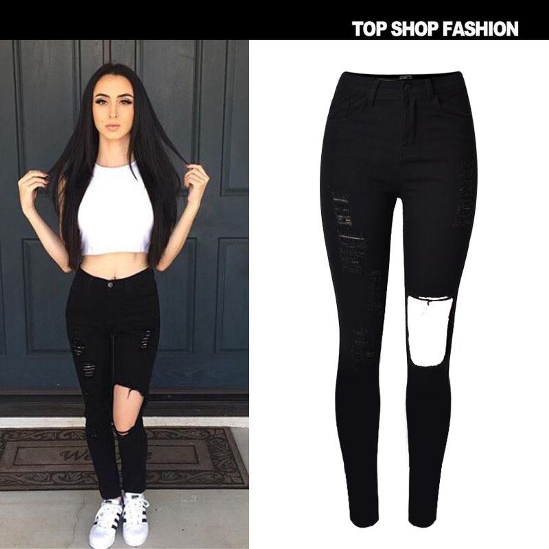 2016Fashion Personality stretch Ripped Skinny Black Knee Hole Capris Jeans runway Small Feet Women Pencil Pants Plus Size XS~2XL(China (Mainland))