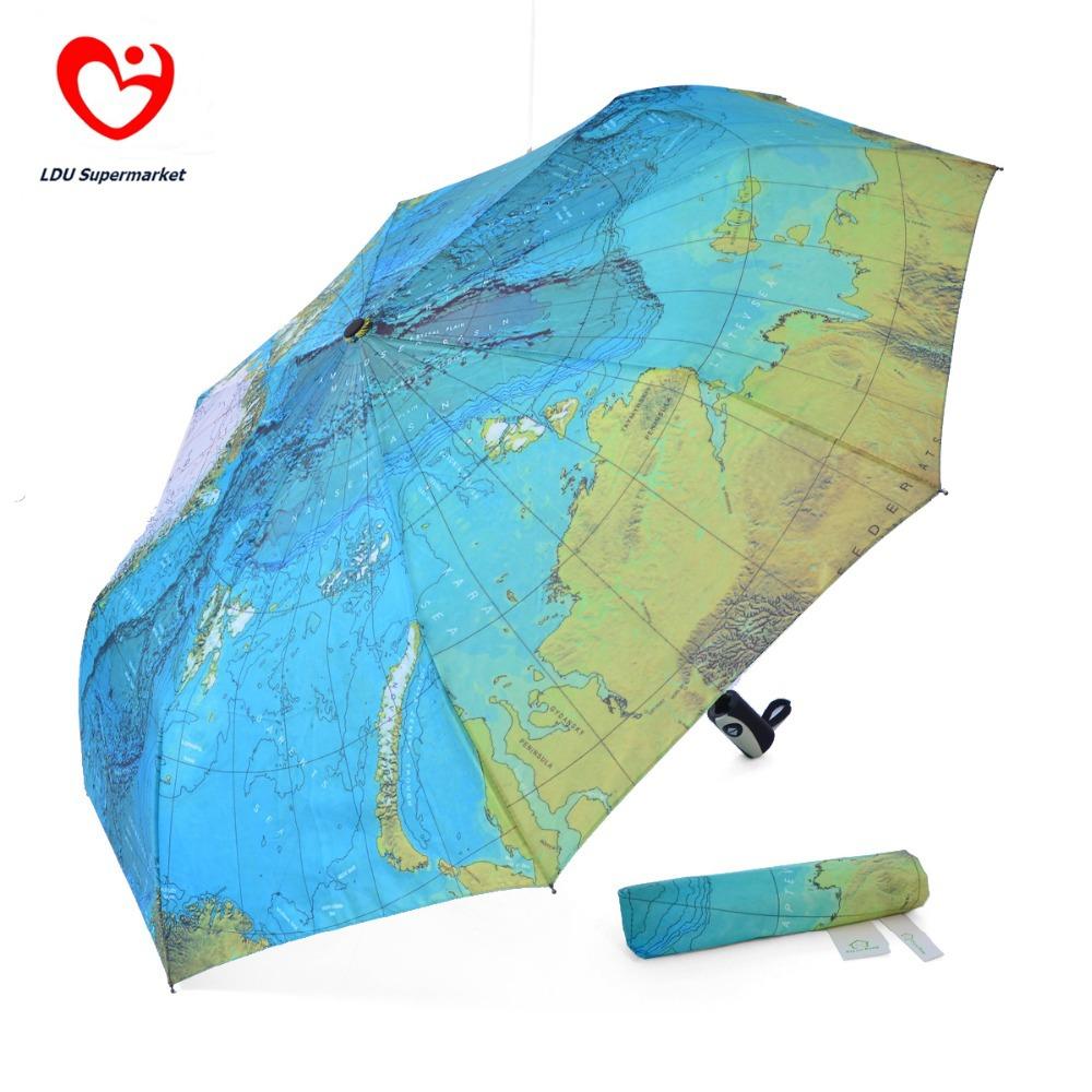 2014New Japanese Three Elephants Brand World Map Printed Automatic Three Folding Wind Resistant Women Fashion Umbrella For Sale