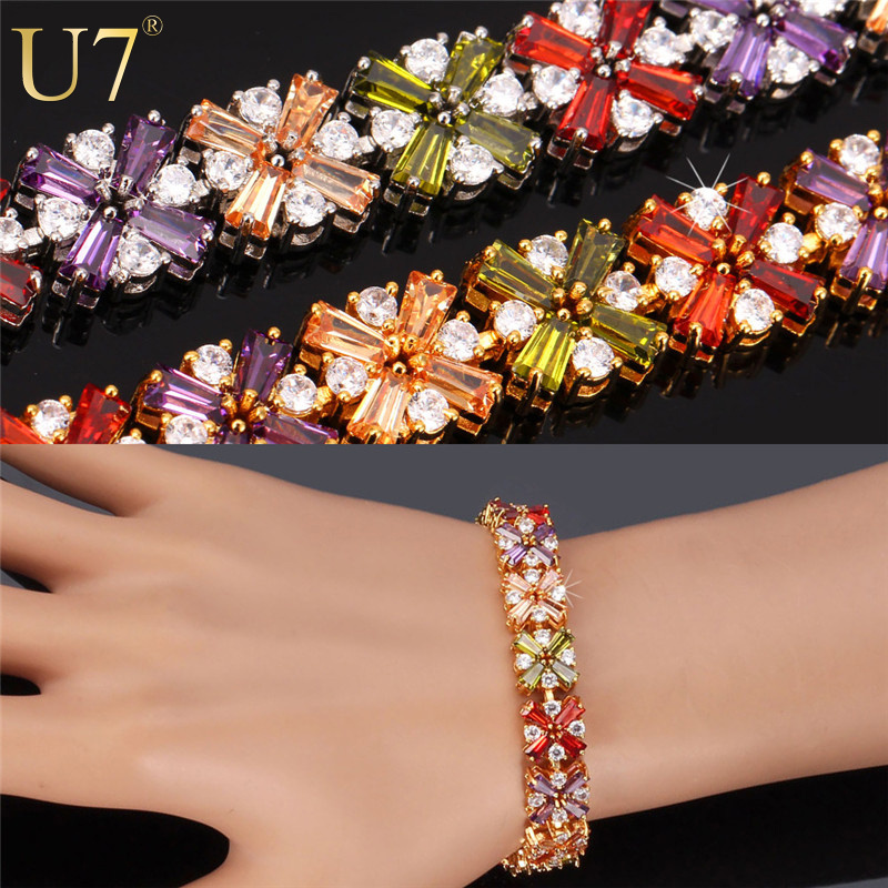 Zircon Bracelet 2015 New Platinum/18K Real Gold Plated Luxury AAA Colorful Cubic Zirconia Jewelry Geometric Bracelet Women H610(China (Mainland))