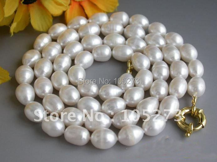 32inchs AA 10-14MM Rice Shaper White Genuine Freshwater Cultured Pearl Necklace Fashion Womens Jewelry Pearl Jewelry FN1425<br><br>Aliexpress