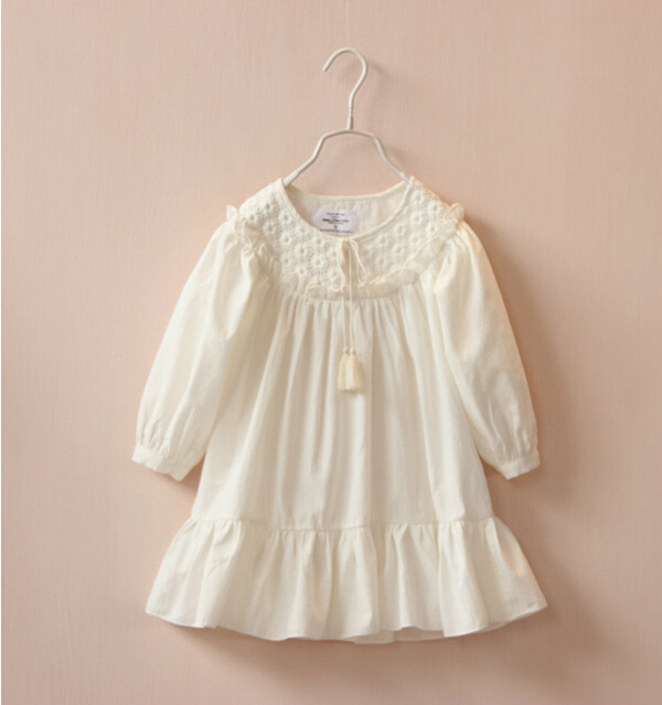 1104143 Wholesale New 2015 Summer Girls Dresses Solid Full Sleeve Embroidery Dobby Girl Dress Casual Lolita Children Clothes Lot<br><br>Aliexpress