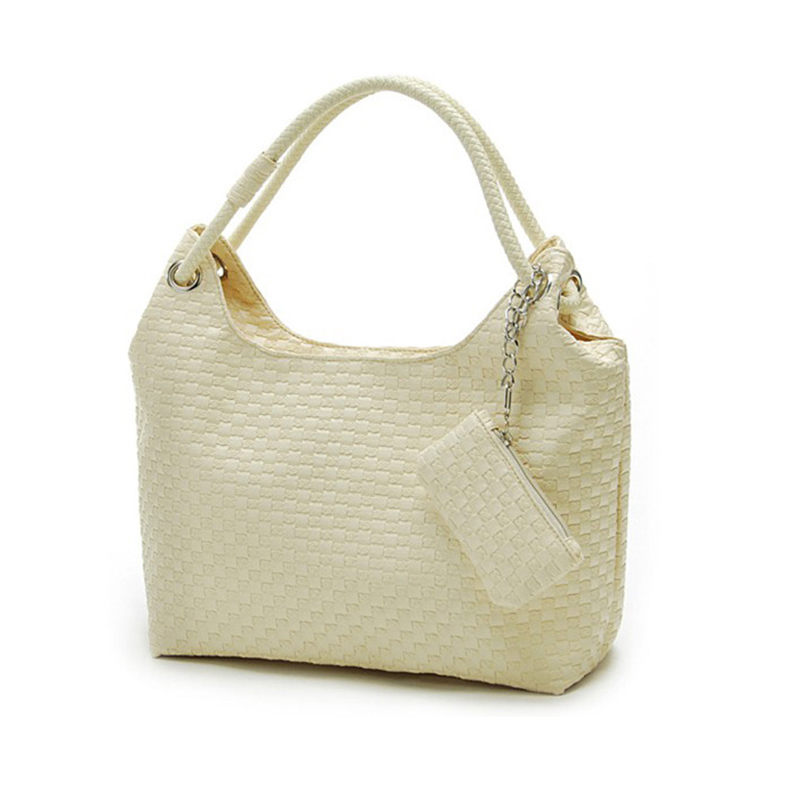 COUPON black white apricot rose red Women Leather handbags Tote hobos Shoulder Bag lady Lovely knitting Weaved Braided Weaving(China (Mainland))