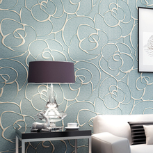 3D Rose Wallpaper Pastoral sky blue luxury modern lager mural roll coffee wall paper of floral embossed home decor for wall (China (Mainland))