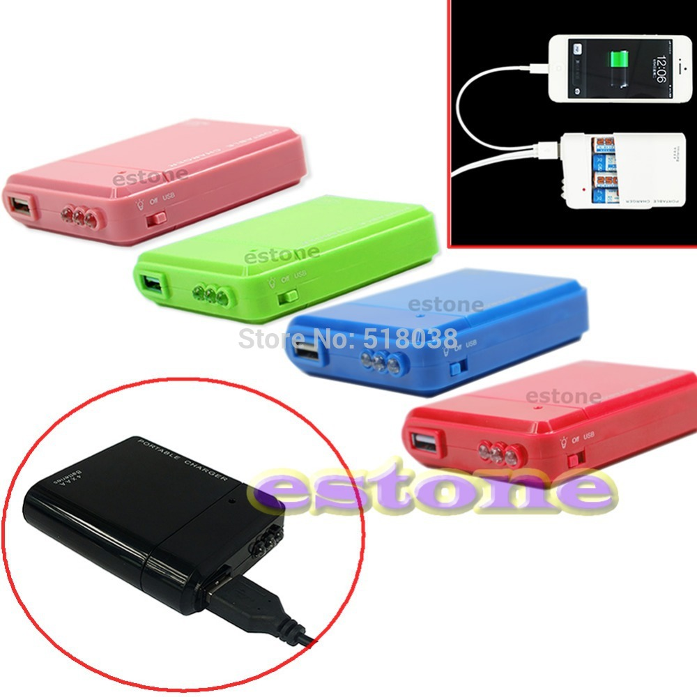 C18 4X AA Battery Portable Emergency Power Charger USB For Cell Phone Hot Optional free shipping