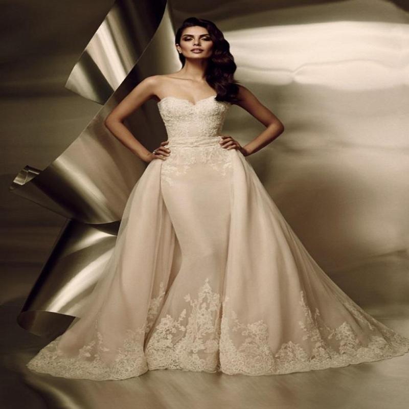 2016 русалка свадебные платья с прозрачными тюль кружева аппликация из бисера часовня поезд арабский свадебные платья W033