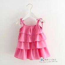 High quality Lovely baby girl infant chiffon cake draped chiffon gallus summer dress  Princess pary occasion 4-24 Mo(China (Mainland))
