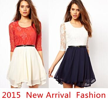 العلامة التجارية الجديدة مصمم 2015 النساء الفساتين، أسود أحمر الدانتيل أنيق اللباس بالنسبة للنساء، زائد حجم الأزياء فساتين الصيف سيدة(China (Mainland))