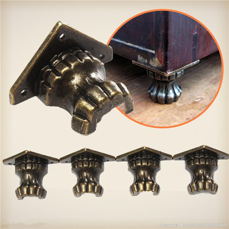 4pcs Metal Antique Brass Jewelry Chest Wood Box Shelfs Furniture Decorative Feet Leg Corner Protector Mini Hardware Parts HW203(China (Mainland))