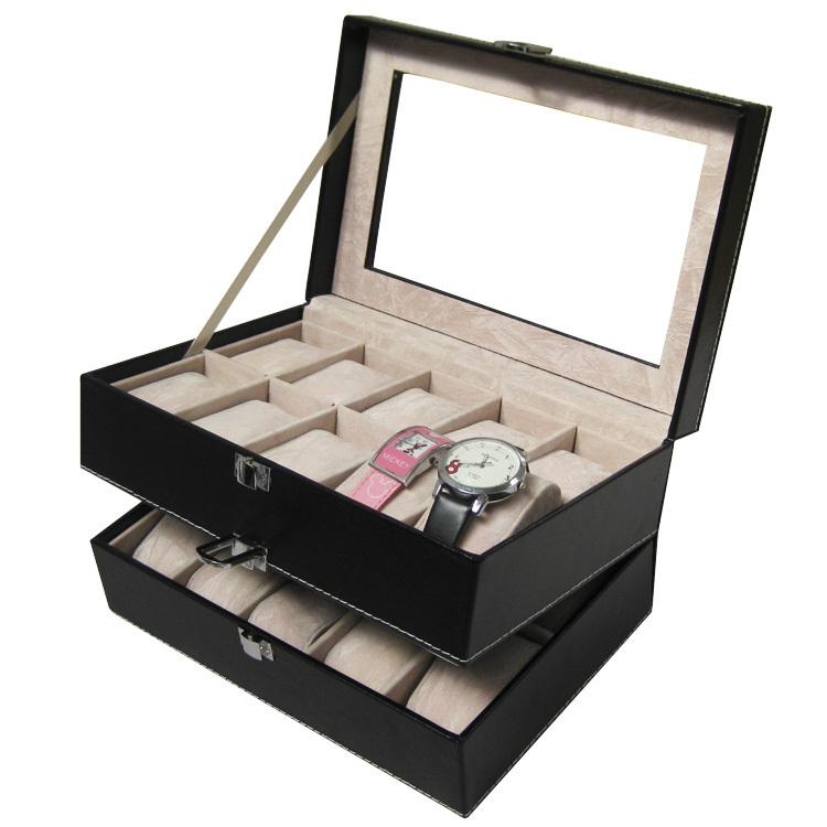 2015 Luxury Brand PU Leather Watch Display Box Double-layer 20 Grid Watch Case Jewelry Storage Organizer Discount Promotion(China (Mainland))