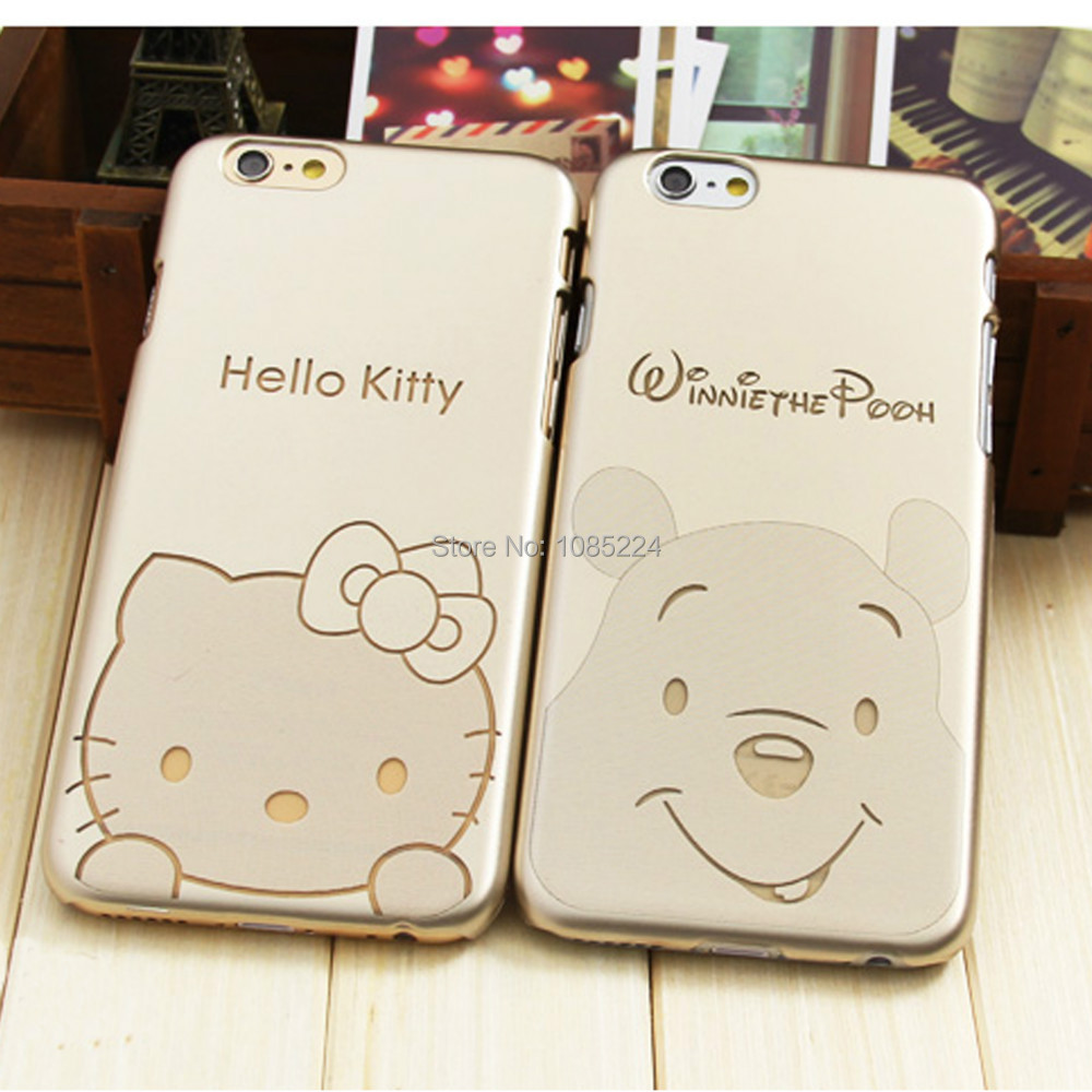 Luxury Golden Hard PVC Popular Design Pooh Bear Case For iPhone 6 Case # 4.7 inch(China (Mainland))
