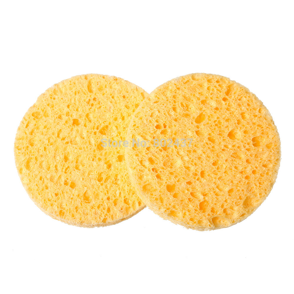 Гаджет  Natural Wood Fiber Face Wash Cleansing Sponge Beauty Makeup Tools Accessories Round Yellow 7.0cm Dia, 4 PCs (B52302) None Красота и здоровье
