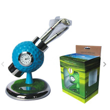 personalized golf ball design desktop golf pen and pen holder golf watch gift with mini club pen(China (Mainland))