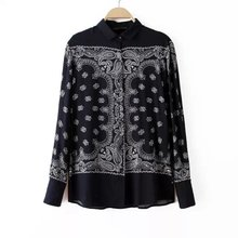 Brand New Fashion Womens Vintage Ethnic Floral Print Lapel Long Sleeve Shirt Viscose   Blouses Ladies Casual Tops(China (Mainland))