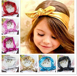 5pcs/lot Free Epacket/CPAP Metallic Messy Bow Baby Knot Head wraps, Jersey Knit Headwraps,Gold/Silver Knott Headband,(China (Mainland))