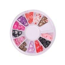 Tiempo de las compras! nueva 3D en forma de corazón Nail Art Fimo Slice Slices Decal piezas decoración w / rueda