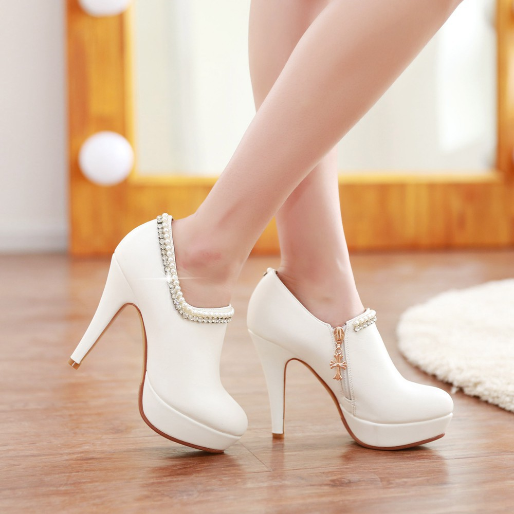 2015 spring new Pearl rhinestone female stiletto high heel Shoes Wedding Shoes women's shoes pumps(China (Mainland))