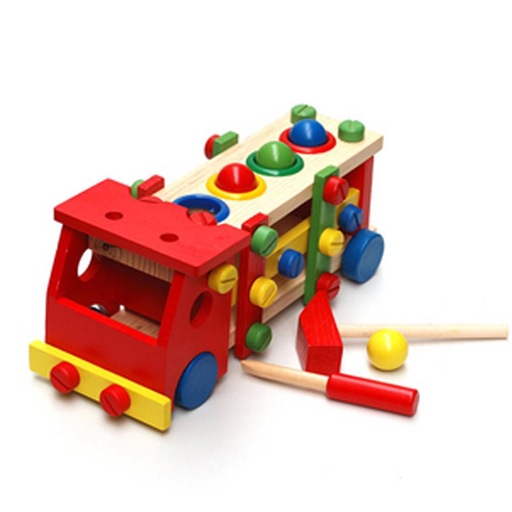 Intellect&Education Montessori Baby Boy Toys Set(29.5cm)Large Truck Shaped Removable Best Kid Birthday Gift Wood Mechanic Knock(China (Mainland))
