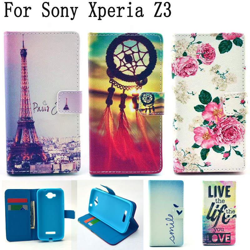 Luxury PU Leather Wallet Flip Case Phone Cover For Sony Xperia Z3 Compact Z3 mini M55W D5803 D5833 Case for Z3 Compact Shell(China (Mainland))