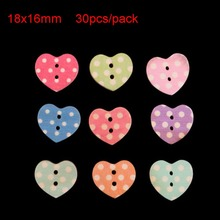 Buy 30pcs 18x16mm Wood Heart Buttons 2 Holes Wooden Sew Button Sewing Garment Beads DIY New Gift Craft Decoration for $1.01 in AliExpress store