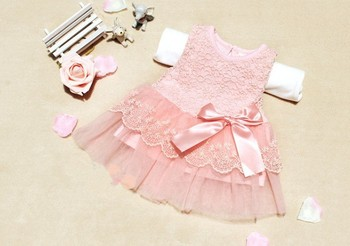 Baby Girls Dresses Children Clothing Cotton Kids Bow Lace Ball Gown Princess Dress Clothes High Quality New