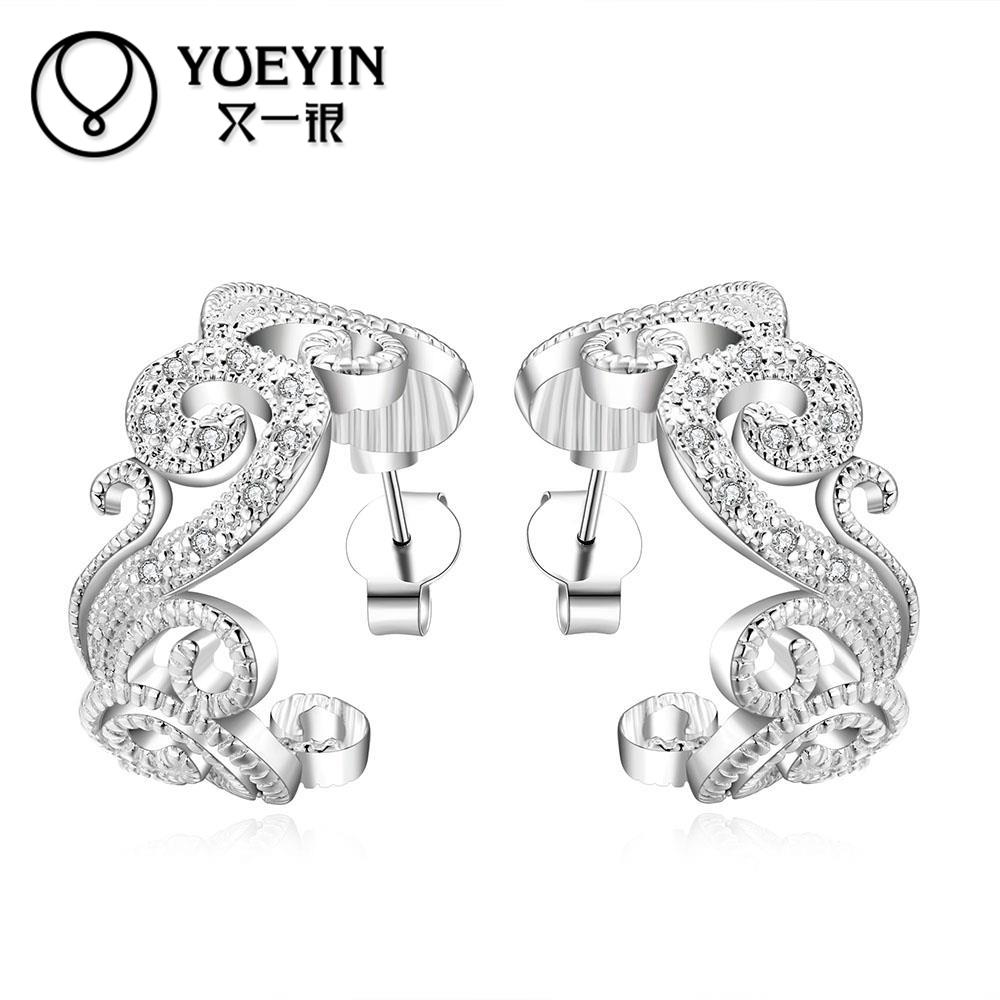 2016 New beautiful plant shape 925 sterling silver stud earrings for woman high quality fashion classic jewelry stud(China (Mainland))
