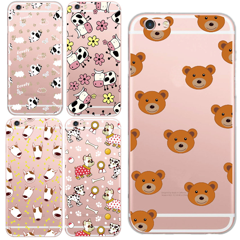 Cute Animal Teddy Bear Bull Terrier Dog Hedgehog Cow Hood Phone Case For iphone 5 5s 6 6s/plus Mini Case Lovely Capa Cover Shell(China (Mainland))