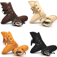 2015 New Winter Snow Boot Women Man-made Fur Buckle Motorcycle Ankle Boots Shoes size36-40(China (Mainland))
